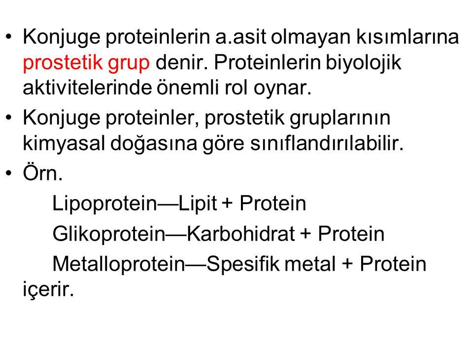 Konjuge proteinlerin a.asit olmayan kısımlarına prostetik grup denir. Proteinlerin biyolojik aktivitelerinde önemli rol oynar. Konjuge proteinler, pro