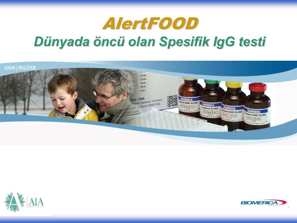 1 AlertFOOD Dünyada öncü olan Spesifik IgG testi AlertFOOD Dünyada öncü olan Spesifik IgG testi