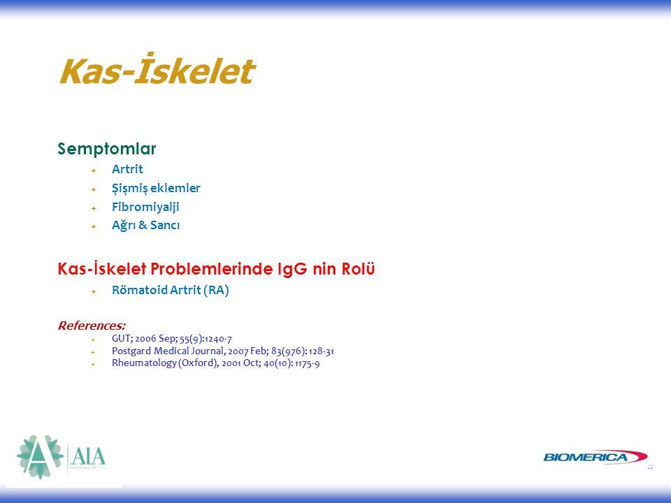 11 Kas-İskelet Semptomlar  Artrit  Şişmiş eklemler  Fibromiyalji  Ağrı & Sancı Kas-İskelet Problemlerinde IgG nin Rolü  Römatoid Artrit (RA) References:  GUT; 2006 Sep; 55(9):1240-7  Postgard Medical Journal, 2007 Feb; 83(976): 128-31  Rheumatology (Oxford), 2001 Oct; 40(10): 1175-9