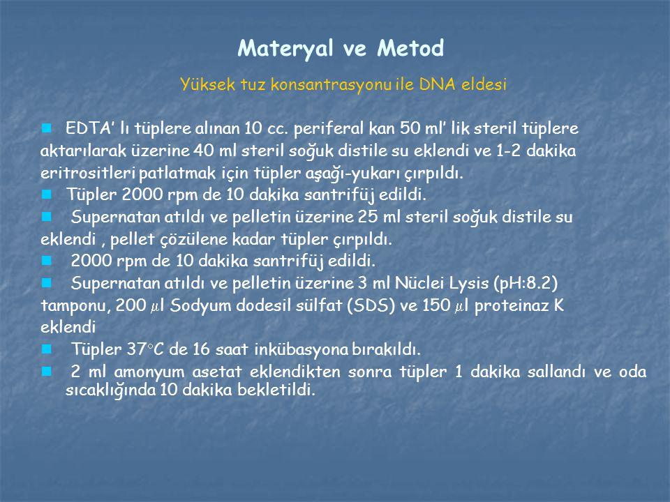 Materyal ve Metod Yüksek tuz konsantrasyonu ile DNA eldesi EDTA' lı tüplere alınan 10 cc. periferal kan 50 ml' lik steril tüplere aktarılarak üzerine