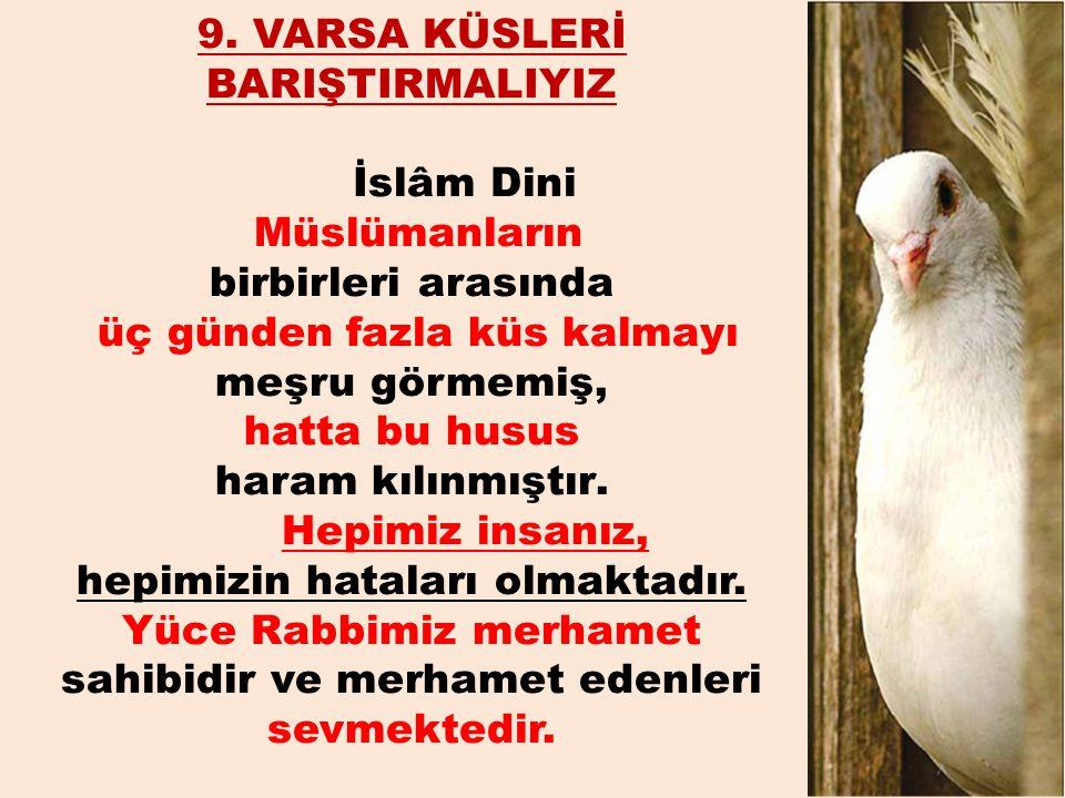 9. VARSA KÜSLERİ BARIŞTIRMALIYIZ İslâm Dini Müslümanların birbirleri arasında üç günden fazla küs kalmayı meşru görmemiş, hatta bu husus haram kılınmı