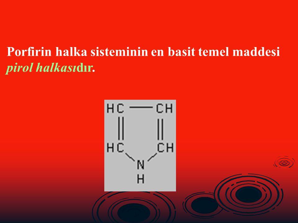 Porfirin halka sistemindeki pirol halkalarının N atomlarına Fe, Mg, Co, Zn, Ni, Cu gibi metallerin iyonlarının bağlanmasıyla metaloporfirinler diye tanımlanan çeşitli porfirin bileşikleri oluşur.