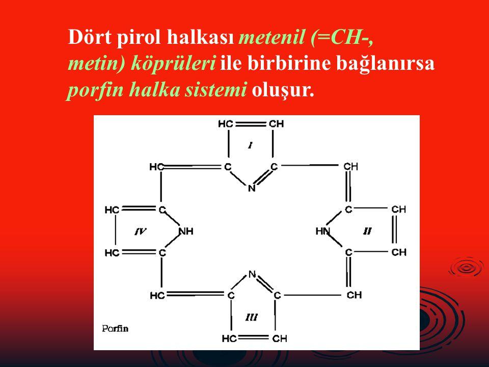 Dört pirol halkası metenil (=CH-, metin) köprüleri ile birbirine bağlanırsa porfin halka sistemi oluşur.
