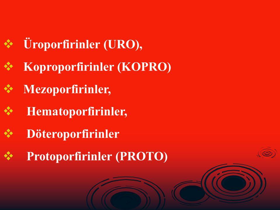  Üroporfirinler (URO),  Koproporfirinler (KOPRO)  Mezoporfirinler,  Hematoporfirinler,  Döteroporfirinler  Protoporfirinler (PROTO)