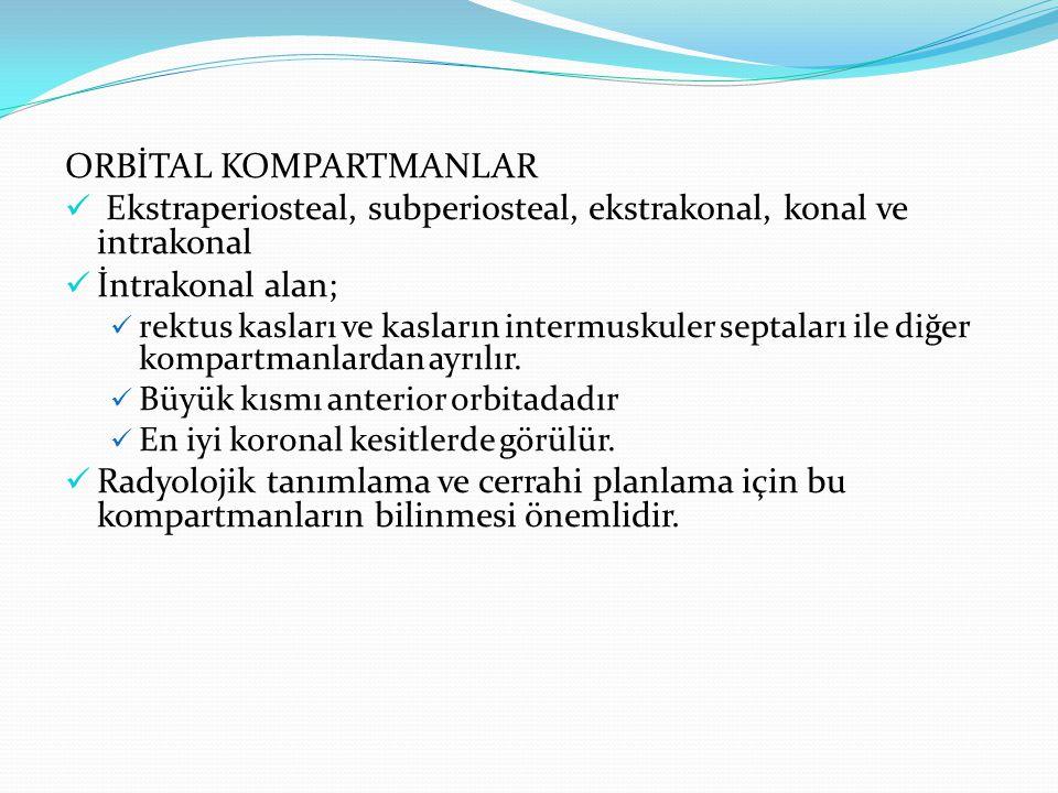 ORBİTAL KOMPARTMANLAR Ekstraperiosteal, subperiosteal, ekstrakonal, konal ve intrakonal İntrakonal alan; rektus kasları ve kasların intermuskuler sept