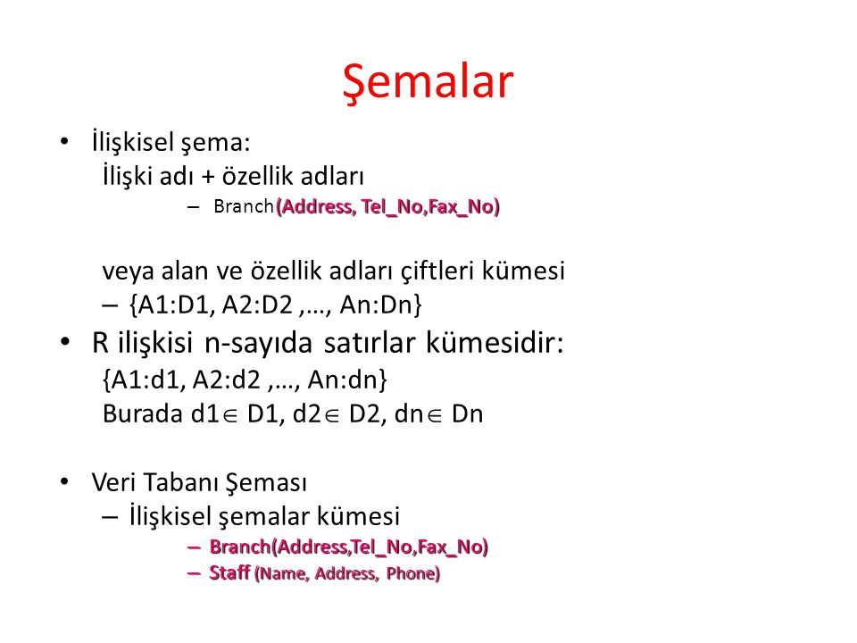 Örnekler R(A1,…,Ak), İlişkisel şemanın örneği R(A1,…,Ak), uygun alanlardan değerler alan k özellikli ilişkidir.
