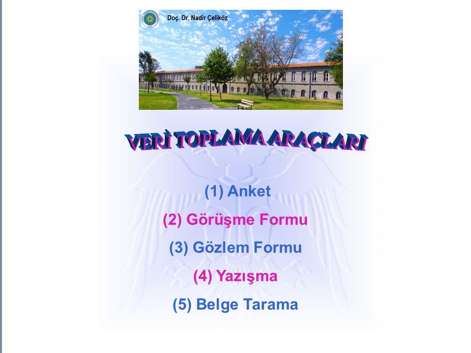 (1) Anket (2) Görüşme Formu (3) Gözlem Formu (4) Yazışma (5) Belge Tarama