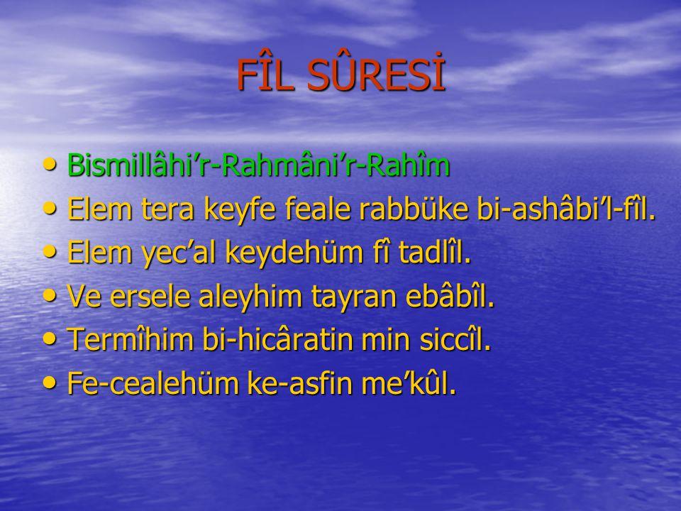 FATİHA SÛRESİNİN MEÂLİ Rahmân ve Râhim Olan Allâh'ın Adıyla..