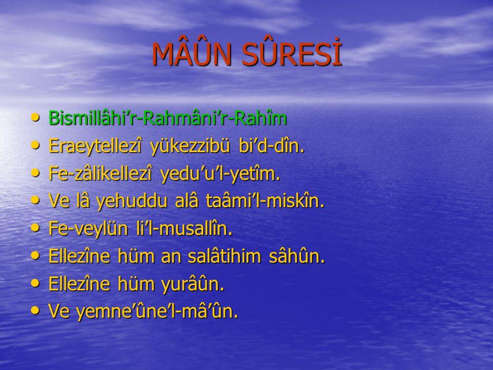 KUREYŞ SÛRESİNİN MEÂLİ Rahmân ve Râhim Olan Allâh'ın Adıyla..