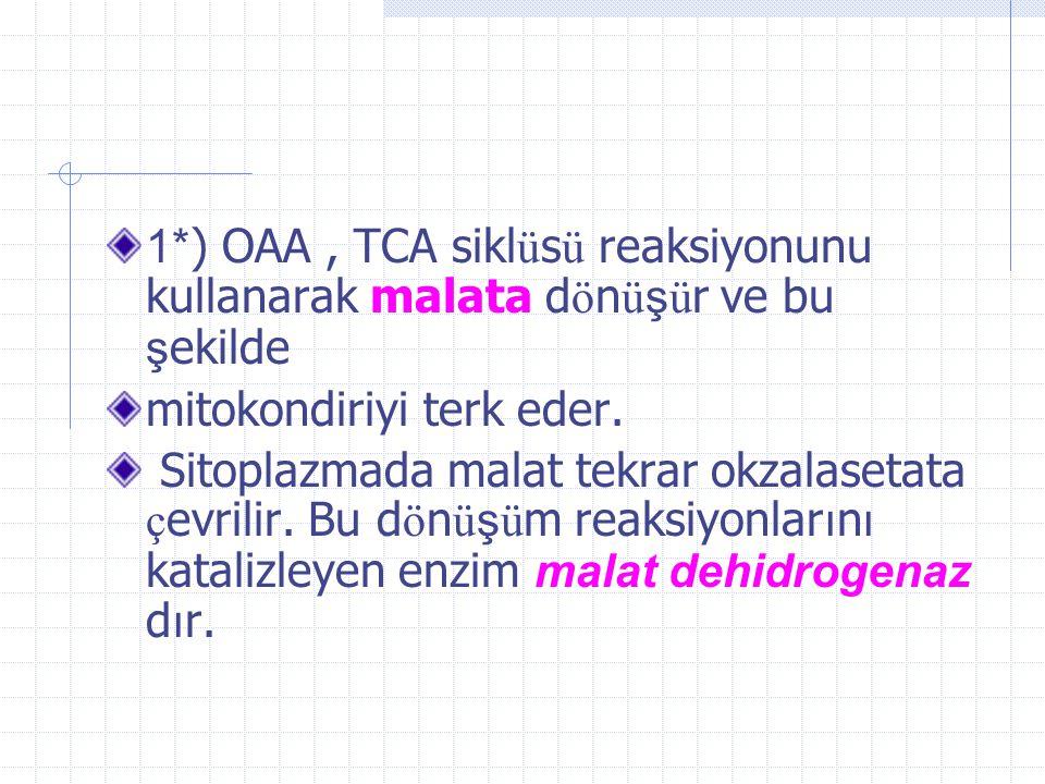 2- Mitokondride oluşan okzaloasetatın glukoneojenez reaksiyonlarının devamı i ç in sitoplazmaya ge ç mesi ş artt ı r.