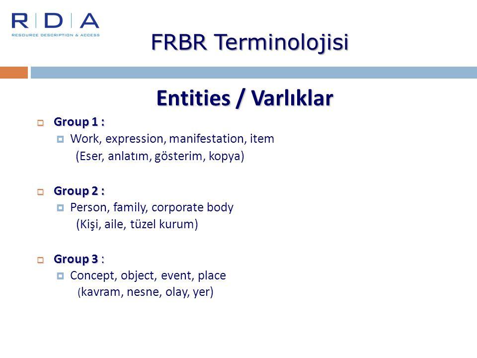 FRBR Terminolojisi Entities / Varlıklar  Group 1 :  Work, expression, manifestation, item (Eser, anlatım, gösterim, kopya)  Group 2 :  Person, fam