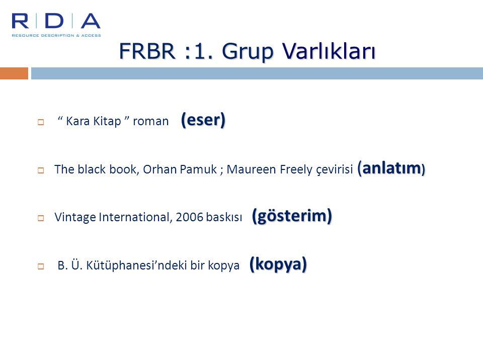 """FRBR :1. Grup Varlıkları (eser)  """" Kara Kitap """" roman (eser) (anlatım )  The black book, Orhan Pamuk ; Maureen Freely çevirisi (anlatım ) (gösterim)"""