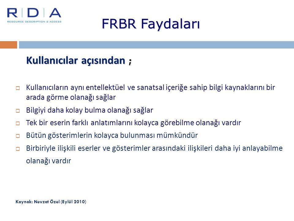 FRBR Faydaları Kullanıcılar açısından ;  Kullanıcıların aynı entellektüel ve sanatsal içeriğe sahip bilgi kaynaklarını bir arada görme olanağı sağlar