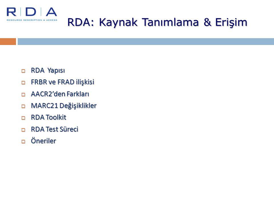  RDA Yapısı  FRBR ve FRAD ilişkisi  AACR2'den Farkları  MARC21 Değişiklikler  RDA Toolkit  RDA Test Süreci  Öneriler RDA: Kaynak Tanımlama & Er