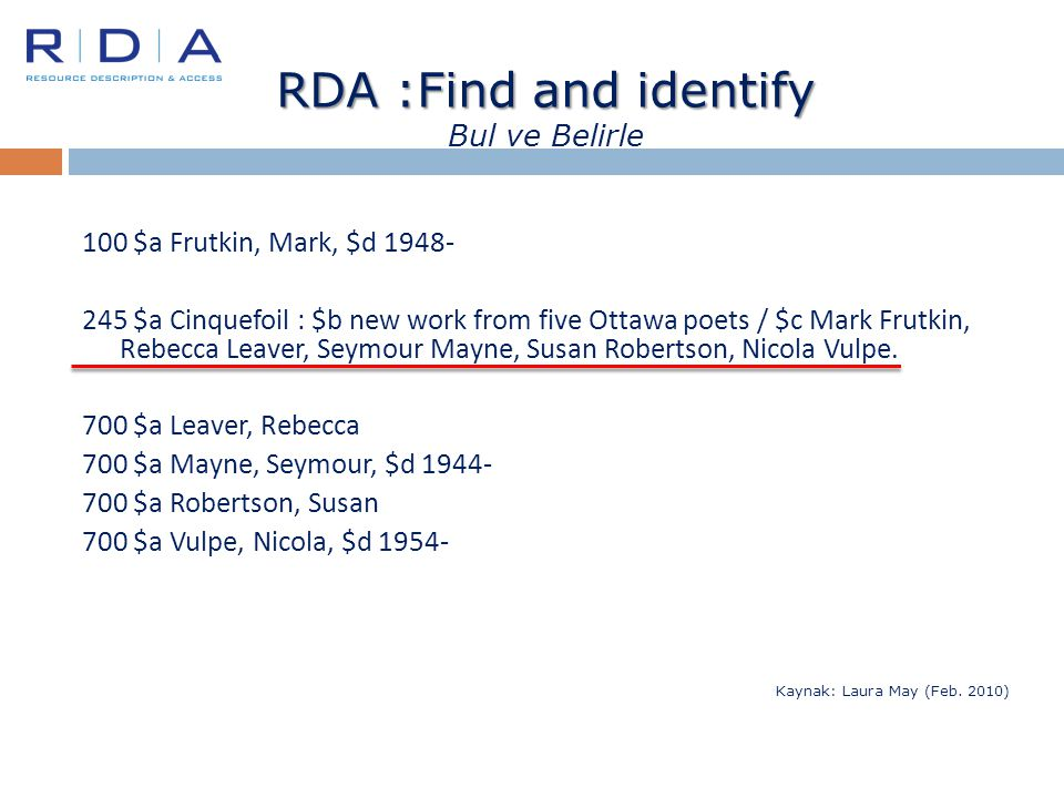 RDA :Find and identify RDA :Find and identify Bul ve Belirle 100 $a Frutkin, Mark, $d 1948- 245 $a Cinquefoil : $b new work from five Ottawa poets / $