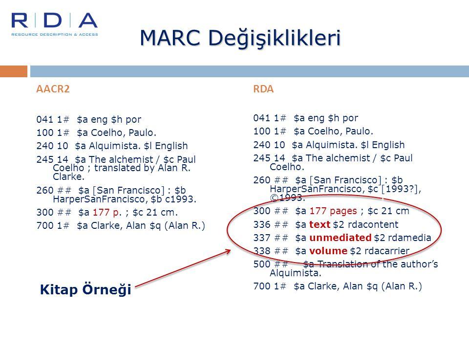 MARC Değişiklikleri AACR2 041 1# $a eng $h por 100 1# $a Coelho, Paulo. 240 10 $a Alquimista. $l English 245 14 $a The alchemist / $c Paul Coelho ; tr