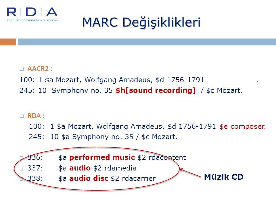 MARC Değişiklikleri  AACR2 : 100: 1 $a Mozart, Wolfgang Amadeus, $d 1756-1791. 245: 10 Symphony no. 35 $h[sound recording] / $c Mozart.  RDA : 100: