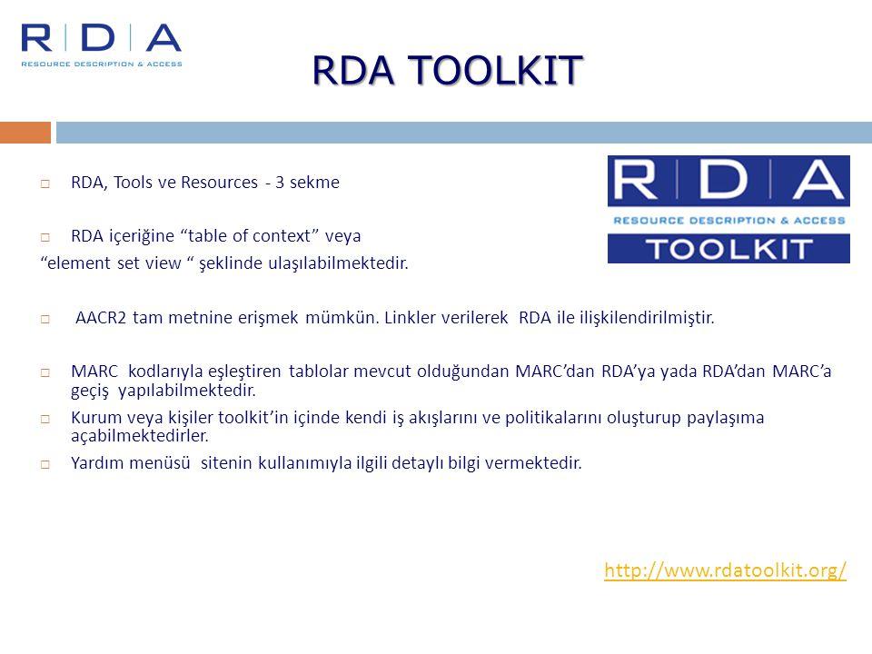 "RDA TOOLKIT  RDA, Tools ve Resources - 3 sekme  RDA içeriğine ""table of context"" veya ""element set view "" şeklinde ulaşılabilmektedir.  AACR2 tam m"