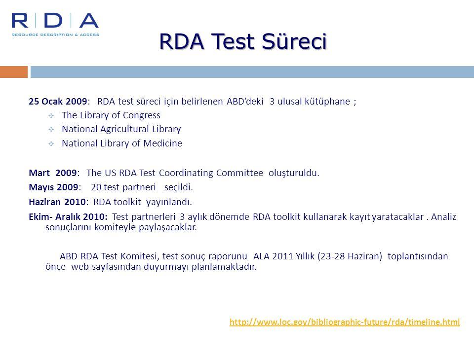 RDA Test Süreci 25 Ocak 2009: RDA test süreci için belirlenen ABD'deki 3 ulusal kütüphane ;  The Library of Congress  National Agricultural Library