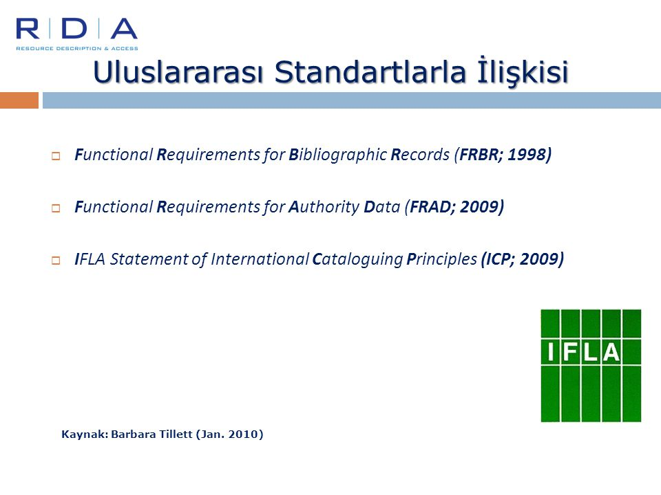 Uluslararası Standartlarla İlişkisi  Functional Requirements for Bibliographic Records (FRBR; 1998)  Functional Requirements for Authority Data (FRA