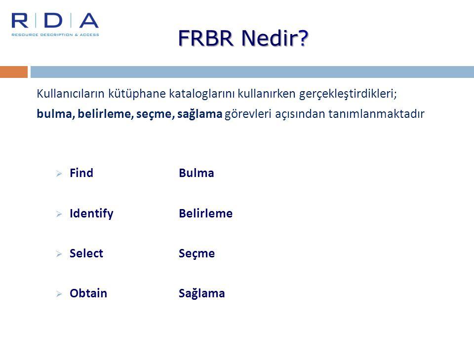 Kullanıcıların kütüphane kataloglarını kullanırken gerçekleştirdikleri; bulma, belirleme, seçme, sağlama görevleri açısından tanımlanmaktadır  Find B