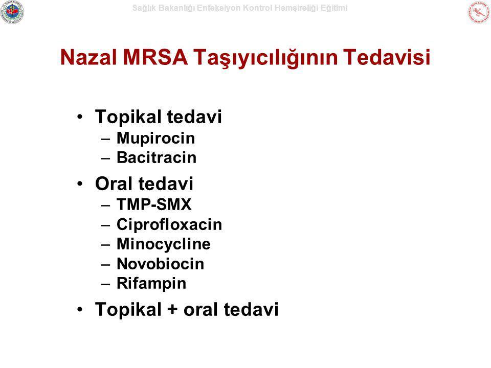 Sağlık Bakanlığı Enfeksiyon Kontrol Hemşireliği Eğitimi Nazal MRSA Taşıyıcılığının Tedavisi Topikal tedavi –Mupirocin –Bacitracin Oral tedavi –TMP-SMX