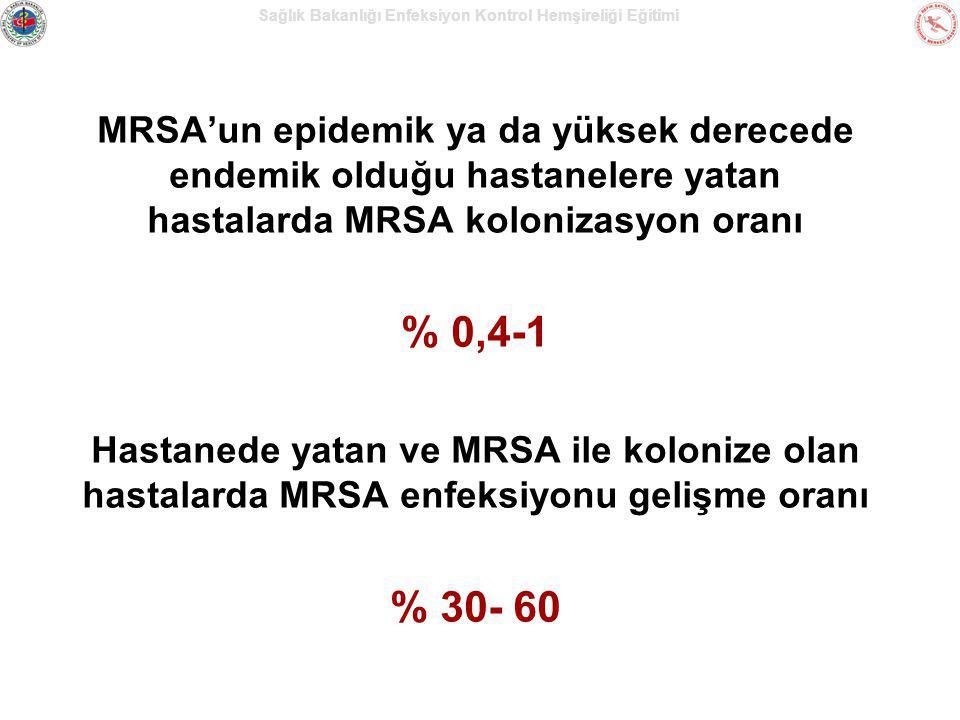Sağlık Bakanlığı Enfeksiyon Kontrol Hemşireliği Eğitimi MRSA'un epidemik ya da yüksek derecede endemik olduğu hastanelere yatan hastalarda MRSA koloni