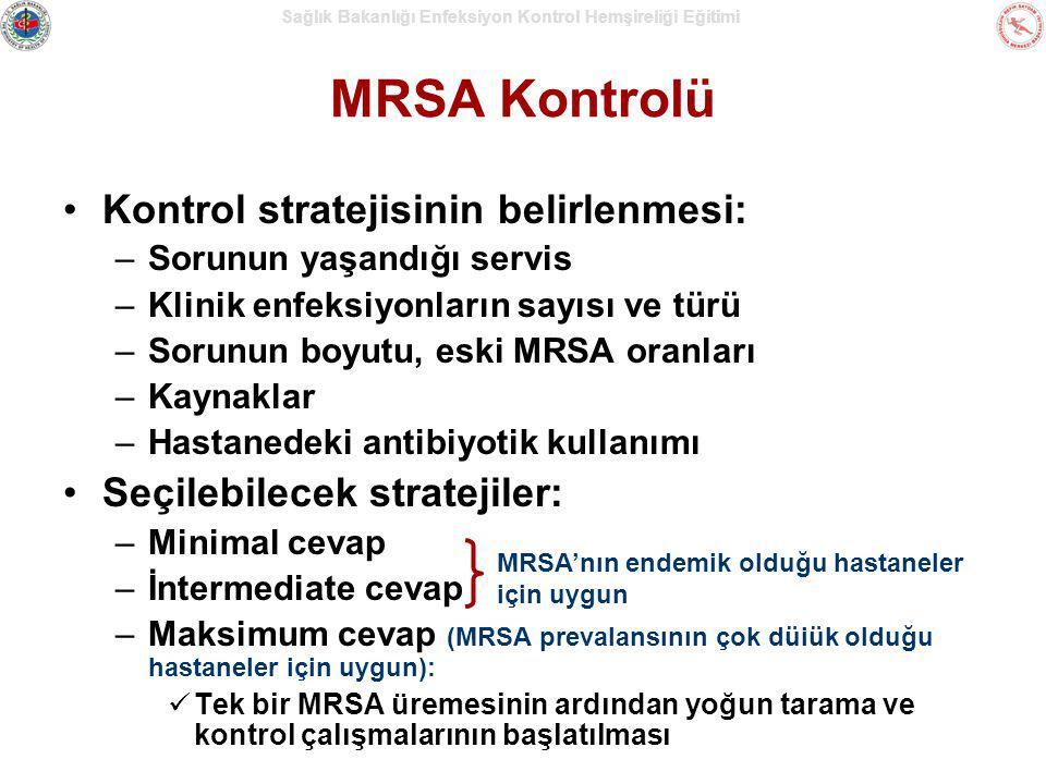 Sağlık Bakanlığı Enfeksiyon Kontrol Hemşireliği Eğitimi MRSA Kontrolü Kontrol stratejisinin belirlenmesi: –Sorunun yaşandığı servis –Klinik enfeksiyon