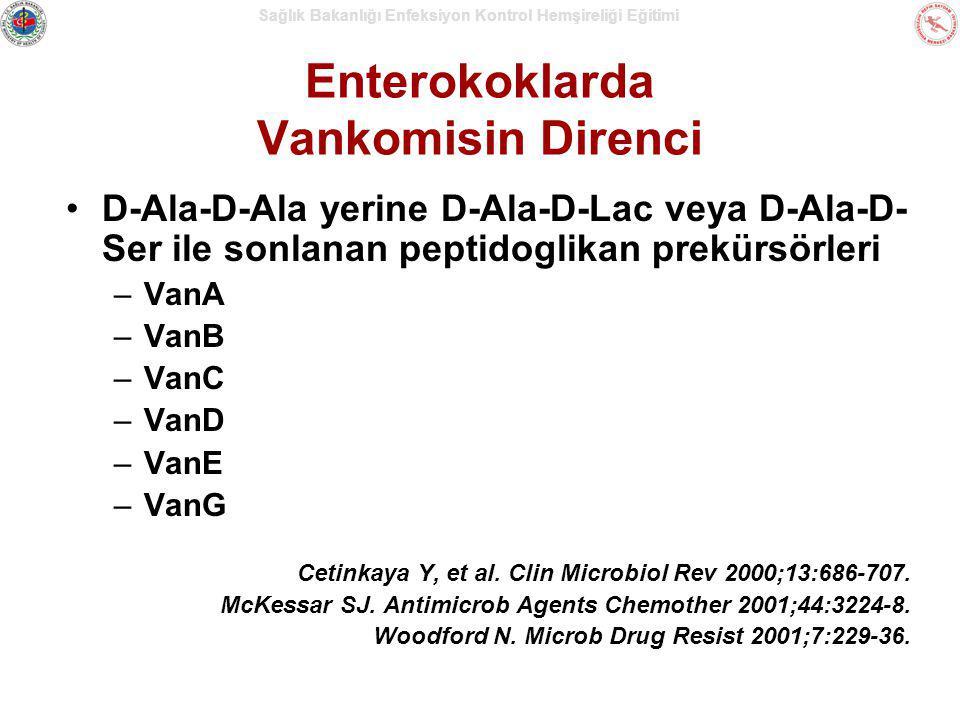 Sağlık Bakanlığı Enfeksiyon Kontrol Hemşireliği Eğitimi Enterokoklarda Vankomisin Direnci D-Ala-D-Ala yerine D-Ala-D-Lac veya D-Ala-D- Ser ile sonlana