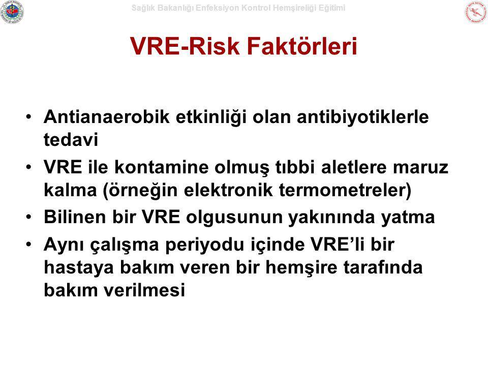 Sağlık Bakanlığı Enfeksiyon Kontrol Hemşireliği Eğitimi VRE-Risk Faktörleri Antianaerobik etkinliği olan antibiyotiklerle tedavi VRE ile kontamine olm