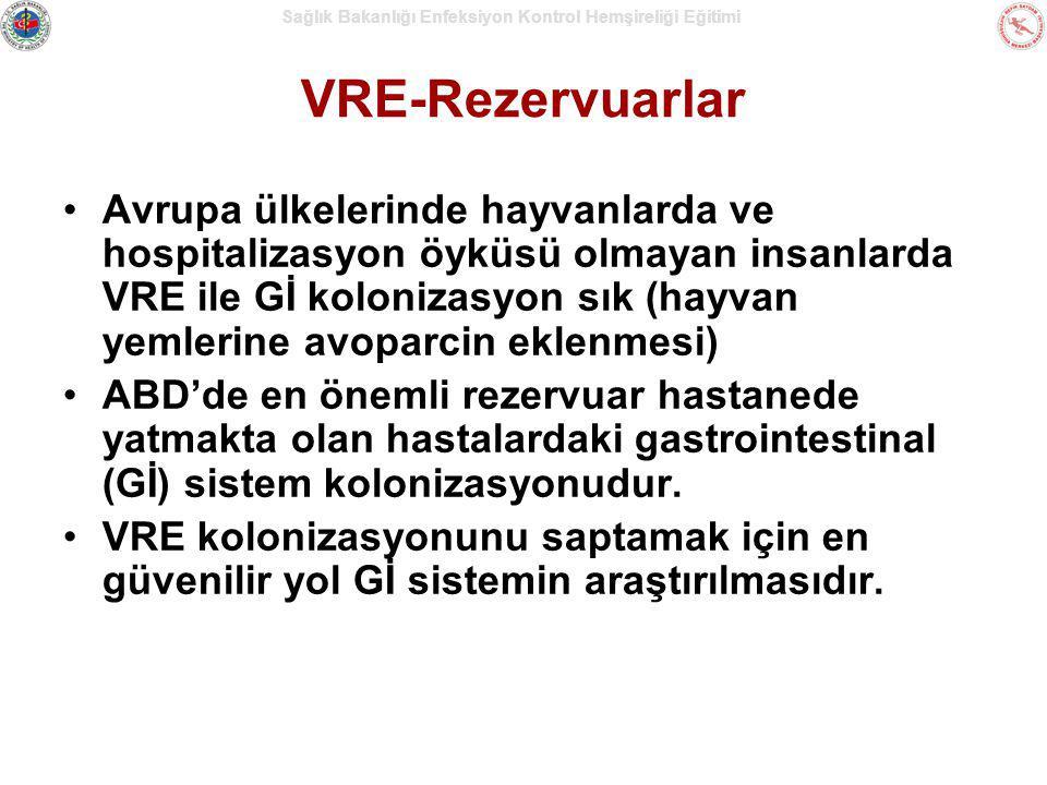 Sağlık Bakanlığı Enfeksiyon Kontrol Hemşireliği Eğitimi VRE-Rezervuarlar Avrupa ülkelerinde hayvanlarda ve hospitalizasyon öyküsü olmayan insanlarda V