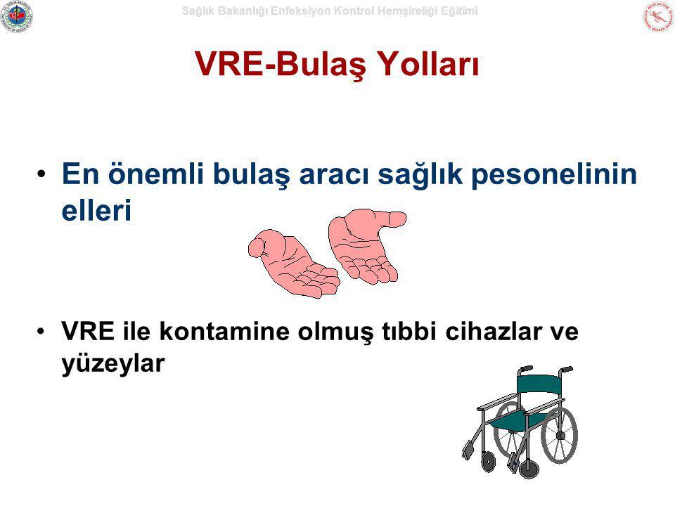 Sağlık Bakanlığı Enfeksiyon Kontrol Hemşireliği Eğitimi VRE-Bulaş Yolları En önemli bulaş aracı sağlık pesonelinin elleri VRE ile kontamine olmuş tıbb