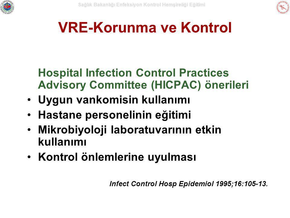 Sağlık Bakanlığı Enfeksiyon Kontrol Hemşireliği Eğitimi VRE-Korunma ve Kontrol Hospital Infection Control Practices Advisory Committee (HICPAC) öneril