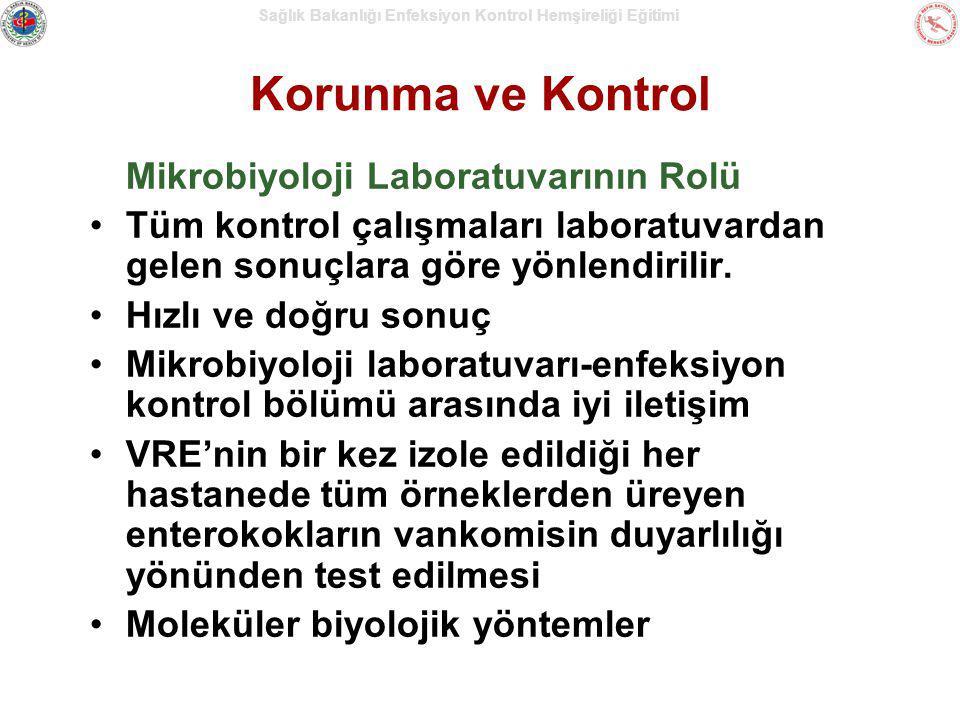 Sağlık Bakanlığı Enfeksiyon Kontrol Hemşireliği Eğitimi Korunma ve Kontrol Mikrobiyoloji Laboratuvarının Rolü Tüm kontrol çalışmaları laboratuvardan g