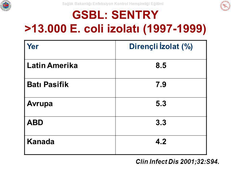 Sağlık Bakanlığı Enfeksiyon Kontrol Hemşireliği Eğitimi GSBL: SENTRY >13.000 E. coli izolatı (1997-1999) Clin Infect Dis 2001;32:S94. YerDirençli İzol
