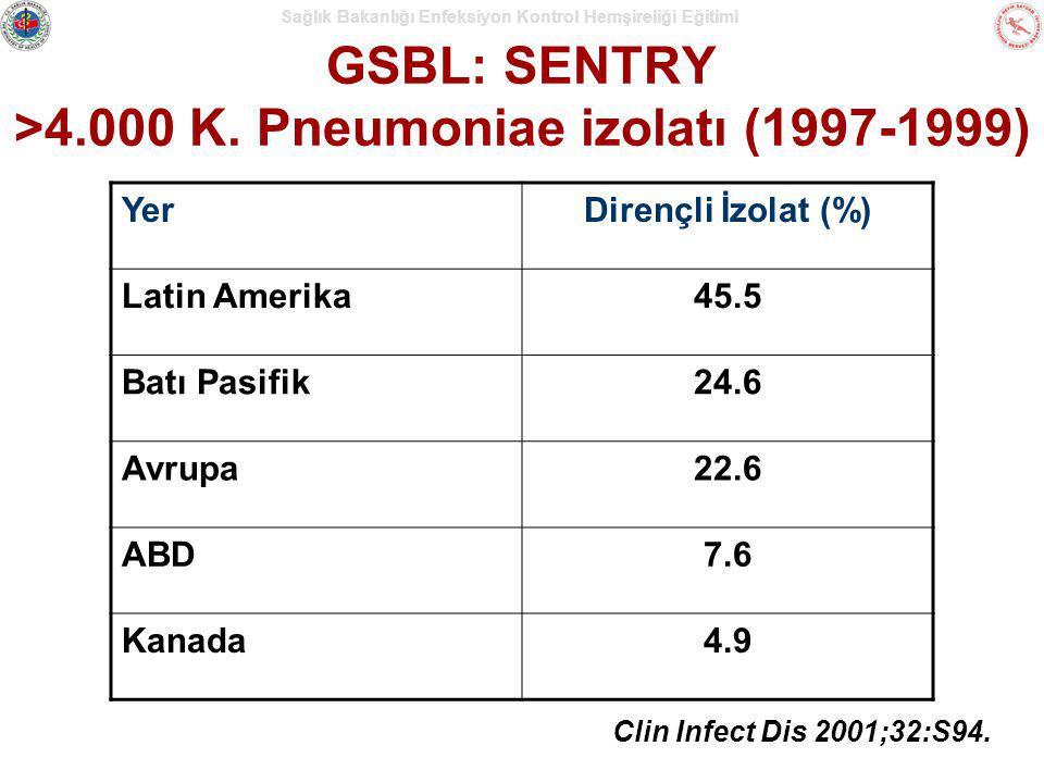 Sağlık Bakanlığı Enfeksiyon Kontrol Hemşireliği Eğitimi GSBL: SENTRY >4.000 K. Pneumoniae izolatı (1997-1999) Clin Infect Dis 2001;32:S94. YerDirençli