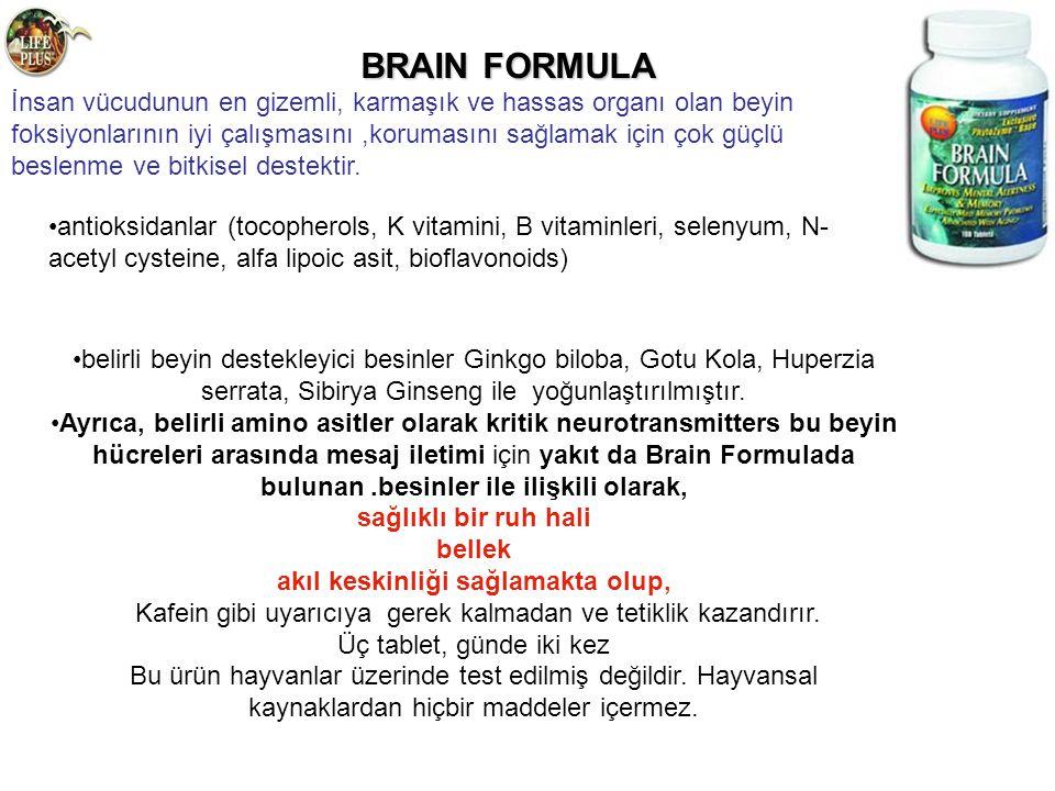 BRAIN FORMULA BRAIN FORMULA İnsan vücudunun en gizemli, karmaşık ve hassas organı olan beyin foksiyonlarının iyi çalışmasını,korumasını sağlamak için