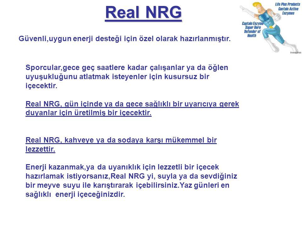 Real NRG Güvenli,uygun enerji desteği için özel olarak hazırlanmıştır. Sporcular,gece geç saatlere kadar çalışanlar ya da öğlen uyuşukluğunu atlatmak