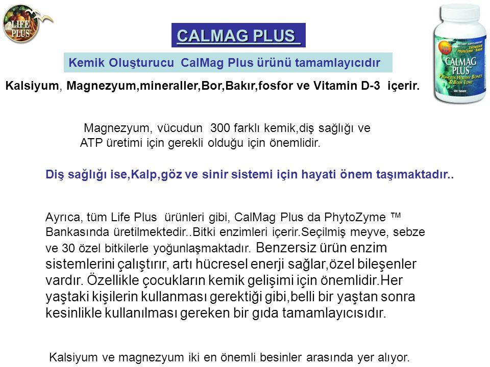 CALMAG PLUS Kemik Oluşturucu CalMag Plus ürünü tamamlayıcıdır Kalsiyum, Magnezyum,mineraller,Bor,Bakır,fosfor ve Vitamin D-3 içerir. Magnezyum, vücudu