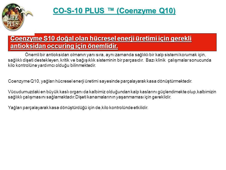 CO-S-10 PLUS ™ (Coenzyme Q10) CO-S-10 PLUS ™ (Coenzyme Q10) Coenzyme S10 doğal olan hücresel enerji üretimi için gerekli antioksidan occuring için öne