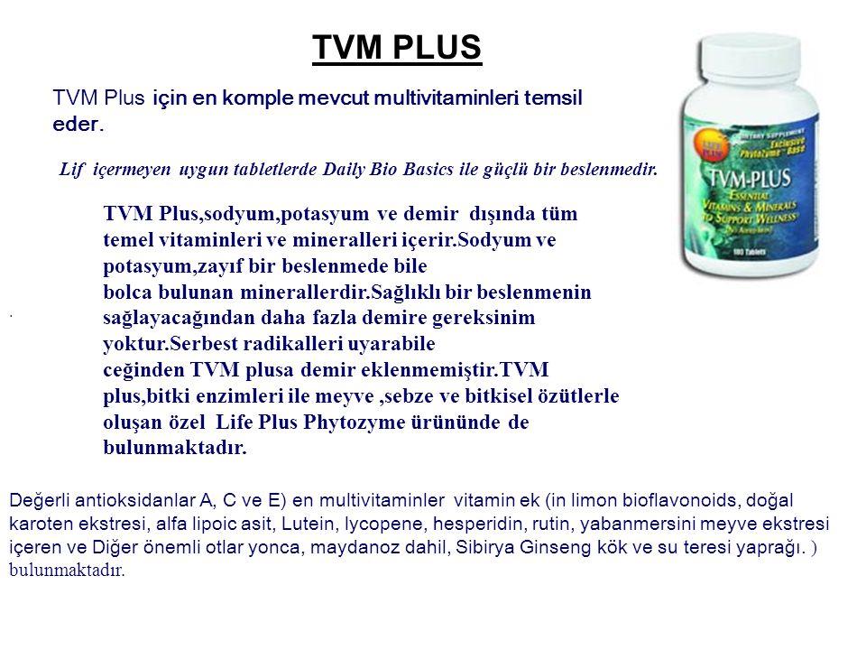 TVM PLUS TVM Plus için en komple mevcut multivitaminler i temsil eder.. Değerli antioksidanlar A, C ve E) en multivitaminler vitamin ek (in limon biof