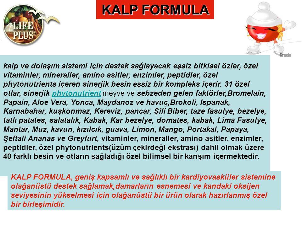 KALP FORMULA kalp ve dolaşım sistemi için destek sağlayacak eşsiz bitkisel özler, özel vitaminler, mineraller, amino asitler, enzimler, peptidler, öze