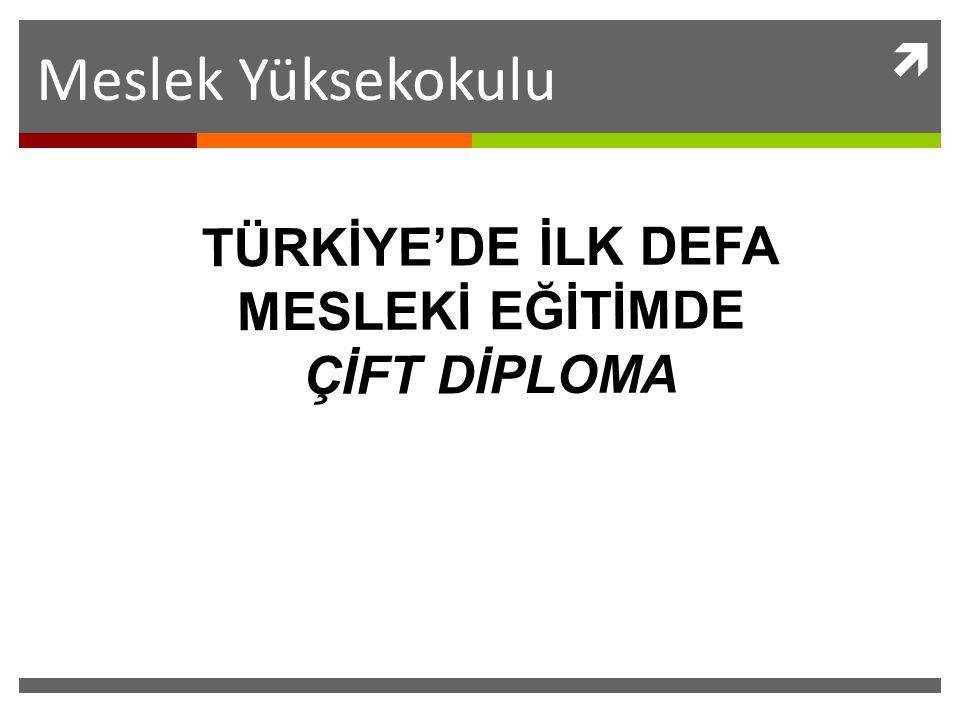 Meslek Yüksekokulu  TÜRKİYE'DE İLK DEFA MESLEKİ EĞİTİMDE ÇİFT DİPLOMA