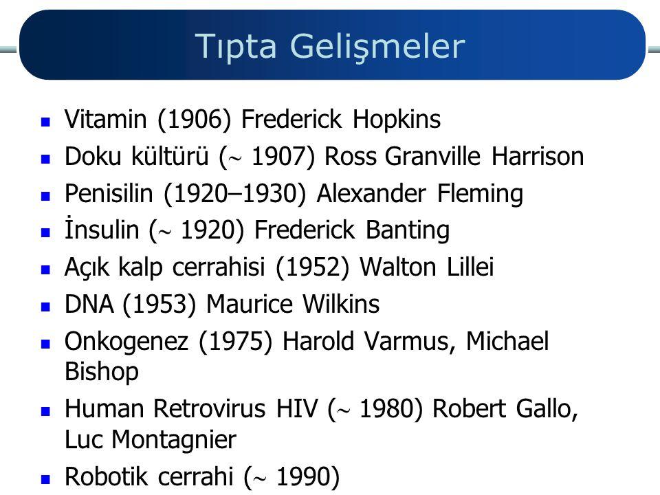 Tıpta Gelişmeler Vitamin (1906) Frederick Hopkins Doku kültürü (  1907) Ross Granville Harrison Penisilin (1920–1930) Alexander Fleming İnsulin (  1