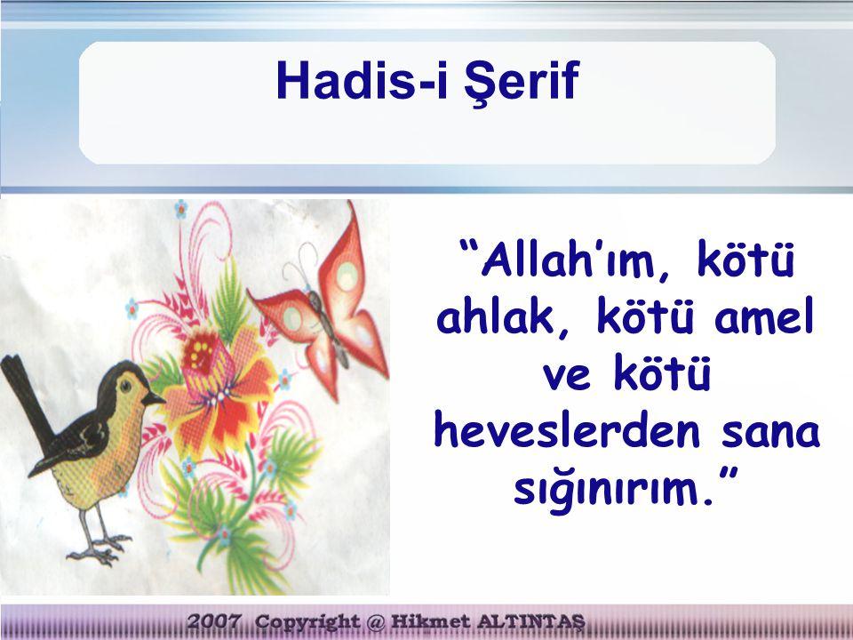 "Hadis-i Şerif ""Allah'ım, kötü ahlak, kötü amel ve kötü heveslerden sana sığınırım."""