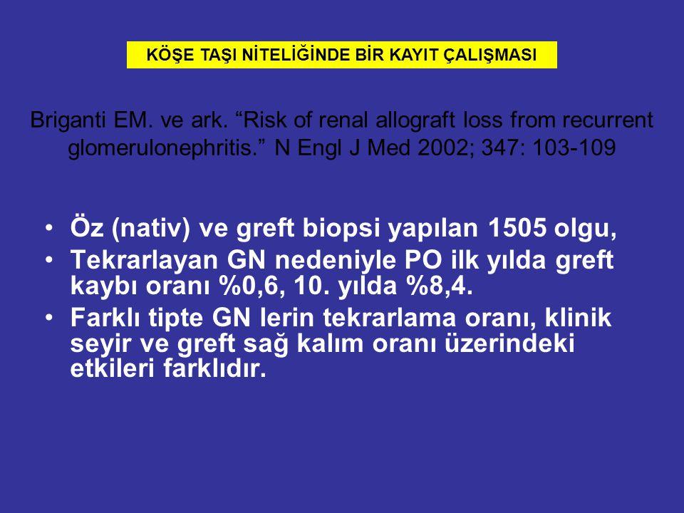 """Briganti EM. ve ark. """"Risk of renal allograft loss from recurrent glomerulonephritis."""" N Engl J Med 2002; 347: 103-109 Öz (nativ) ve greft biopsi yapı"""