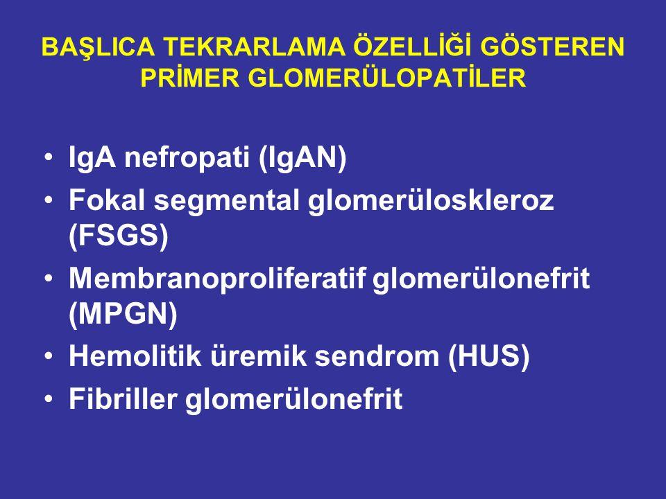 BAŞLICA TEKRARLAMA ÖZELLİĞİ GÖSTEREN PRİMER GLOMERÜLOPATİLER IgA nefropati (IgAN) Fokal segmental glomerüloskleroz (FSGS) Membranoproliferatif glomerü