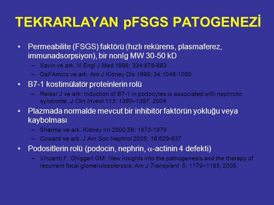 TEKRARLAYAN pFSGS PATOGENEZİ Permeabilite (FSGS) faktörü (hızlı rekürens, plasmaferez, immunadsorpsiyon), bir nonIg MW 30-50 kD –Savin ve ark. N Engl