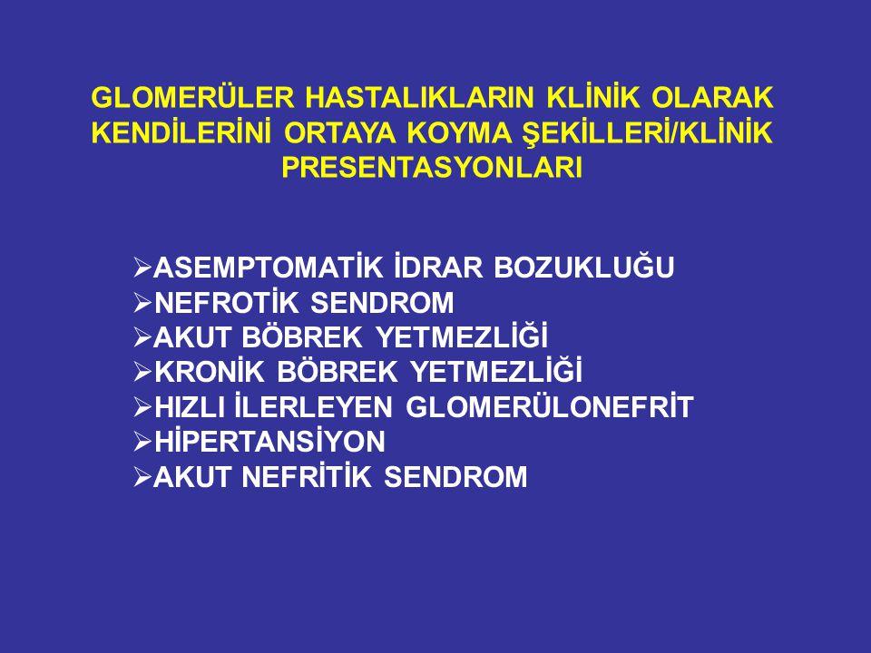 NAKİL BÖBREKTE DE NOVO HUS Erken siklosporin toksisitesi Akut vasküler red OKT3 (yüksek doz kullanıldığında) Tacrolimus Sirolimus/Siklosporin kombinasyonu Valasiklovir HIV, parvovirus B19, CMV İdiopatik TTP (ADAMTS13) De novo HUS sistemik tutulumlu olabileceği gibi sadece böbreğe sınırlı da olabilir.