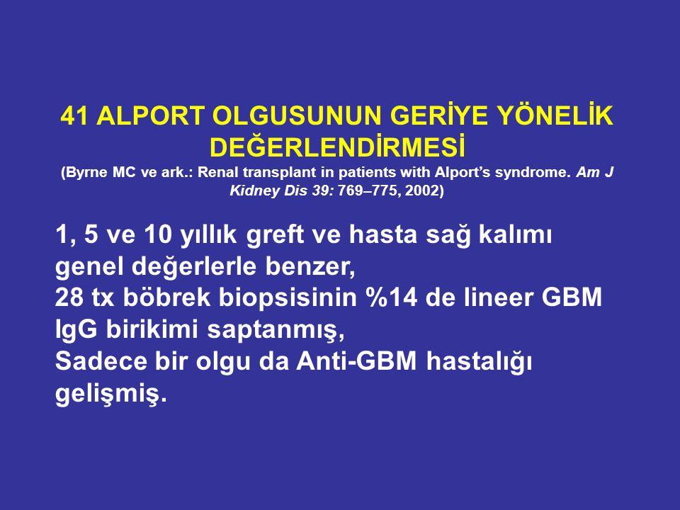 41 ALPORT OLGUSUNUN GERİYE YÖNELİK DEĞERLENDİRMESİ (Byrne MC ve ark.: Renal transplant in patients with Alport's syndrome. Am J Kidney Dis 39: 769–775